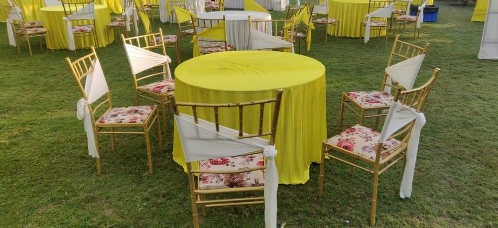 Yellow And White Lehriya Mandap